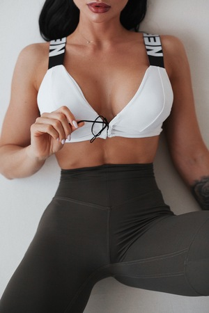 Cпортивный топ Lace-up sport bra 694 white NEBBIA