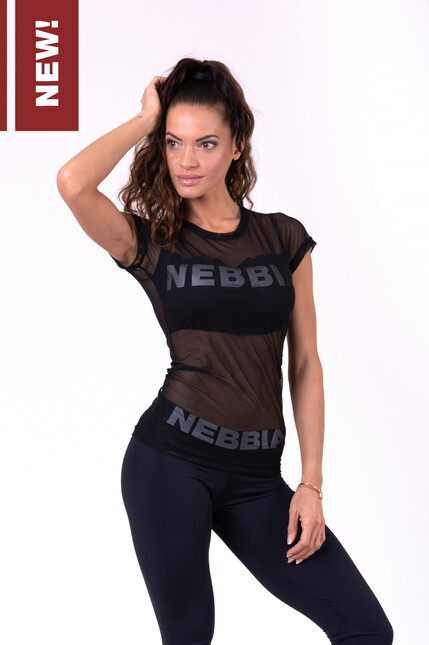 Футболка для фитнеса Flash-Mesh T-shirt 665 black NEBBIA