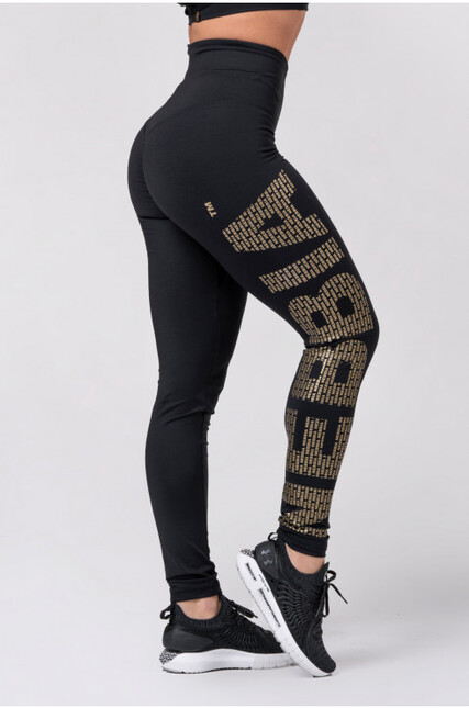 Gold NEBBIA print leggings 827 NEBBIA
