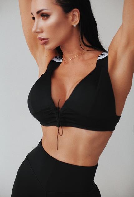 Cпортивный топ Lace-up sport bra 694 black NEBBIA