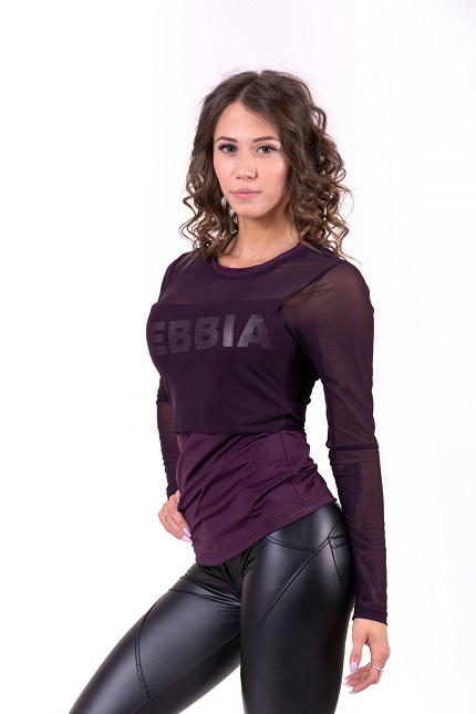 Женская футболка  Flash-Mesh longsleeve shirt 664 bordeaux NEBBIA