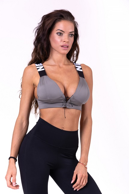 Cпортивный топ Lace-up sport bra 694 grey NEBBIA
